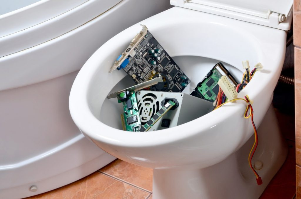 Toilet clogged with debris